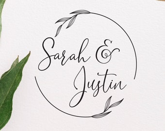 Names with Wedding Date or Last Name Personalized Handwritten Calligraphy and Digital Text Rubber Stamp