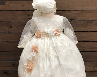 Ropon for Girl Baptism Gown for girl Girl Baptism Gown Girl Baptism Ropon Girl Baptism Shantung dress Ropon in beige Ropon embroidered