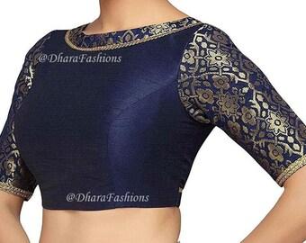 Ready to Wear Saree Blouse,Saree Blouse Saree Blouse Royal Blue Banarasi Silk Blouse Sari Blouse Indian Sari