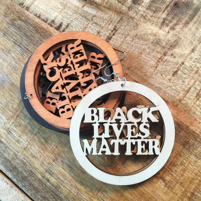 Protest Gear BLM Earring Wood Wooden Circle #blacklivesmatter #blm Black Lives Matter Earrings Wooden Cutout Earrings