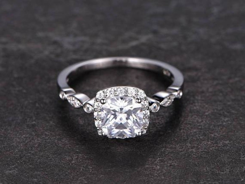 Cushion Cut colorless Moissanite 6.5mm1.4ct Halo Wedding Ring in White Gold.Gift For Her,Valentine Gift,Birthday Gift.Anniversary Gift.