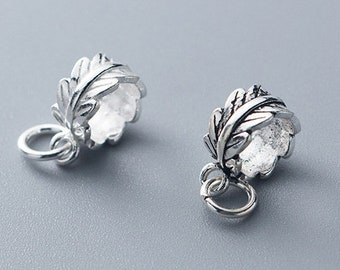 1pcs 925 Silver Charms Wholesale  TGF-S0753 9mm Sterling Silver Leaf Pendants