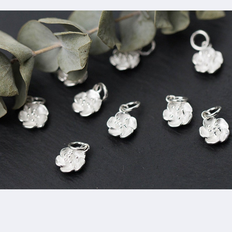 1pcs 925 Silver Charms Wholesale  TGF-S0338 11mm Sterling Silver Flower Pendants