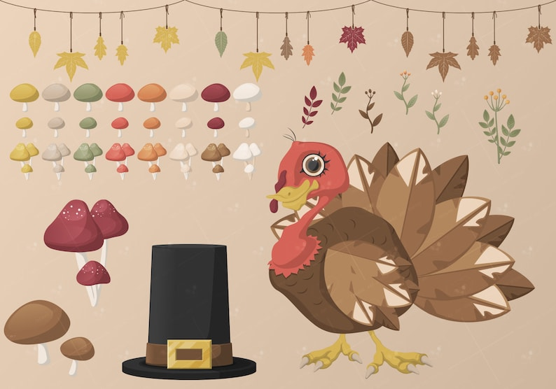 Free Commercial Use Thanksgiving Clipart Vector /& PNG Many items Autumn Themed Illustrations Instant Digital Print Cute Animals