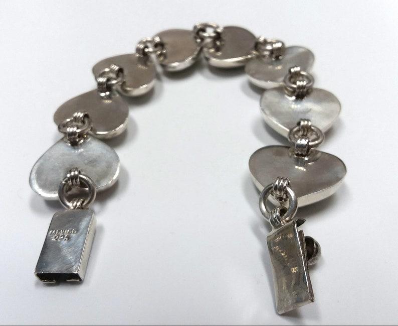Sterling Silver Gaspeite Estate Heart Bracelet. Mexico