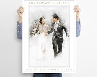Custom Wedding Portrait from Photo Wedding Anniversary Illustration Unique Couples Portrait Personalised Wedding Gift Printable Artwork