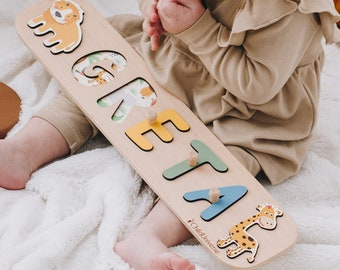 Baby Boy Safari Name Puzzle for Toddler Montessori Toys Nursery Decor Wood Name Puzzle Jigsaw 1st Birthday Gift for Baby Girl Christmas Gift