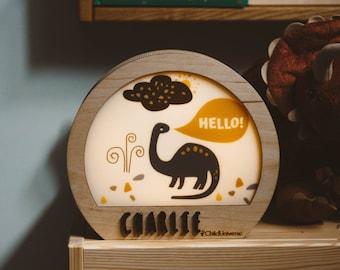 Personalized Gift - Dinosaur Kids Room - Dinosaur Decor - Night Light - Wooden Lamp - Baby Lamp - Gift for Boy - Gift for Girl - Wood Light