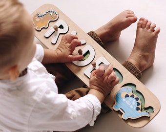 Wooden Name Puzzle Personalized Gift Baby Boy Dinosaur Design Montessori Toys for Toddler Gift 1st Birthday Gift for Baby Son