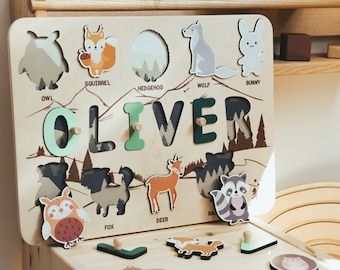 Name Puzzle with Animals - Woodland Nursery -  Baby Boy Gift - 3rd Birthday - Educational Toy - Toddler Toys