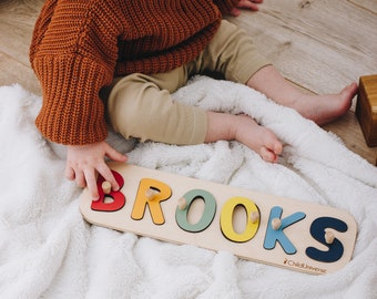 Baby Gift Idea Wooden Name Puzzle Baby Boy 1st Birthday Gift Baby Girl Montessori Toys Waldorf Baby Shower Gift for Toddler Puzzle