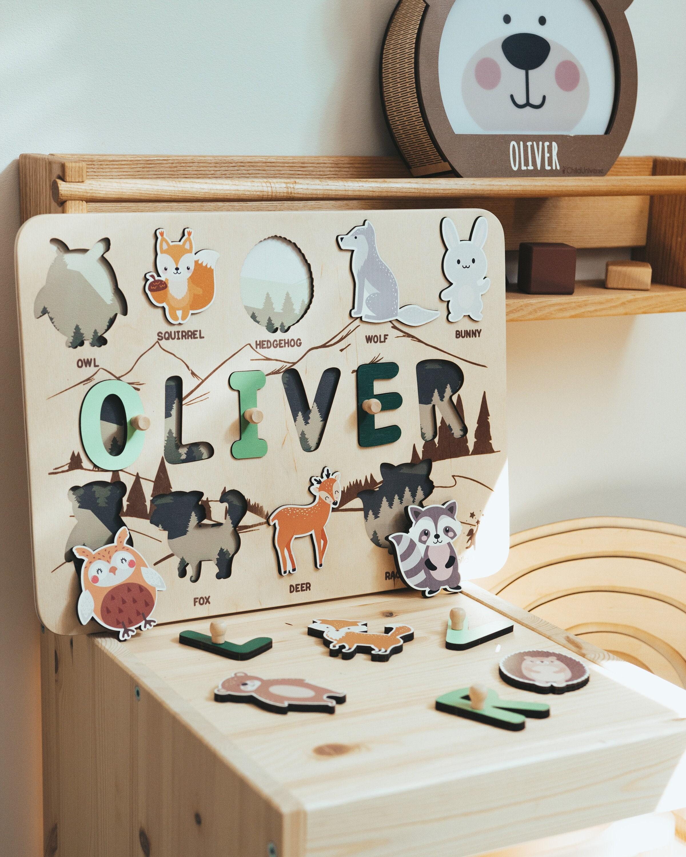 Naam puzzel met dieren - Woodland Nursery - Baby Boy Gift - 3e verjaardag - Educatief speelgoed - Peuterspeelgoed