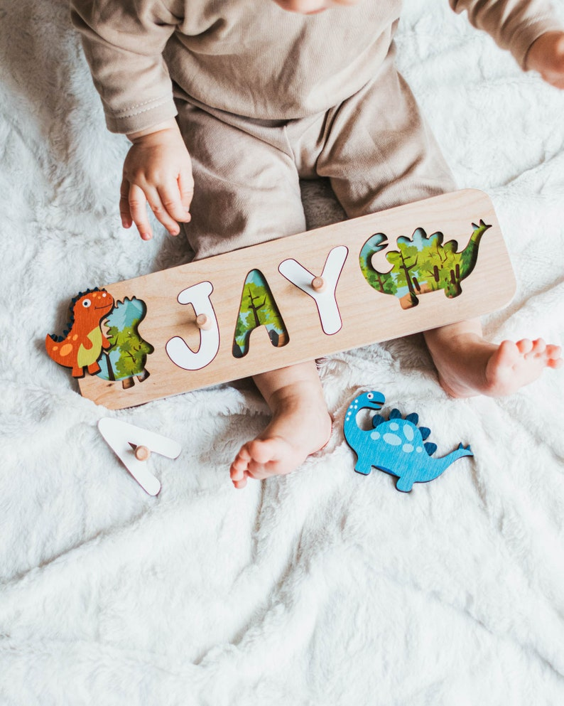 Dinosaur Design Name Puzzle Wooden Toys for Toddler Gift 1st image 0