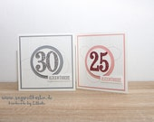 Handmade Square Birthday Card, Round Birthday, Number Birthday