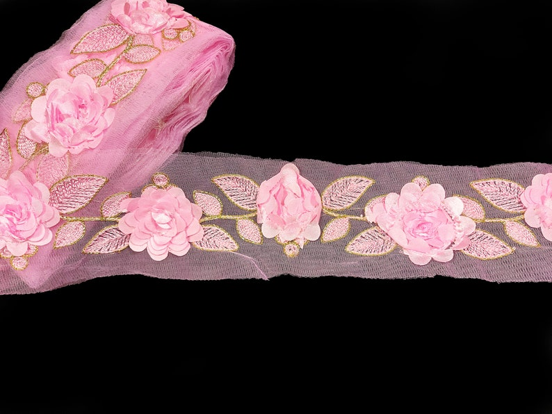 Light pink Floral Saree Decorative Trim By the Yard Embroidered Sari Border Indian Laces Sewing Crafting Ribbon Beach Bags Decor Trimmings