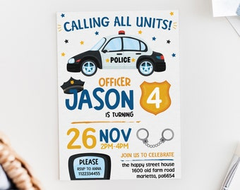 Police Birthday Invitation Custom Editable Invite Police Car Invite Kids Police Party Policeman Police Officer Invite Calling all Units 004