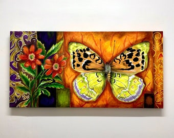 Butterfly and flowers Acrylic painting on canvas/Nature lover art wall/Unique as picture/100x50cm canvas/ Wildlife art/Insect art/Garden Art