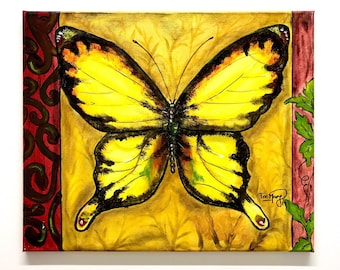 Butterfly acrylic painting on canvas 46x38cm size/Nature lover art wall/Unique as picture/Wildlife Art painting/Insect art/Garden art wall