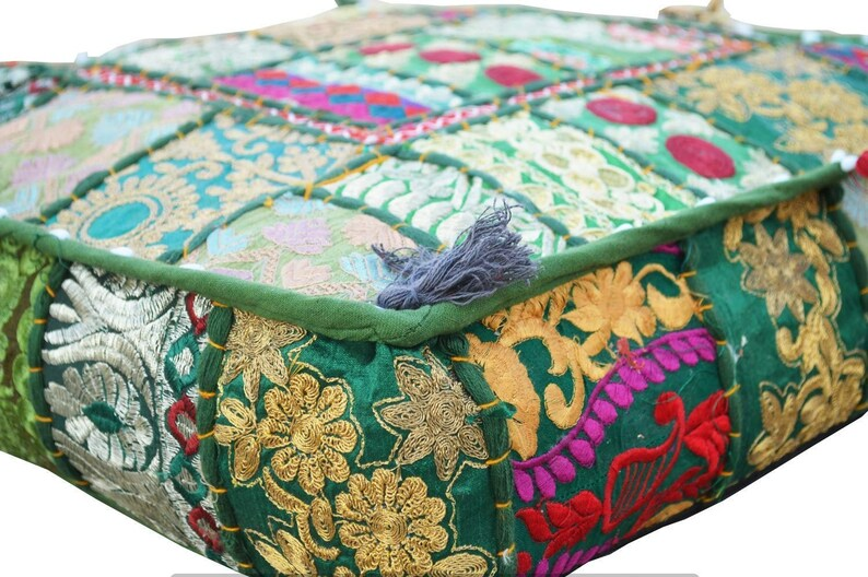 Indian Handmade Square Pouf Floor Cushion Cover 100/% Cotton Vintage Patchwork Ottomans Footstool Dog Mat 18X18 inches Home Decor #IHL384