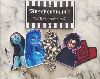 Tim Burton Sticker Pack, Gothic sticker pack, gothic stickers, gothic art ,Edward scissorhands, Beetlejuice stickers, Tim Burton Stickers