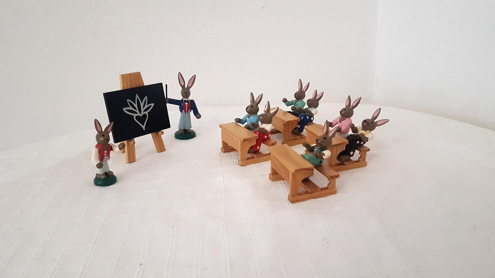 Vintage German ESCO Erzgebirge Easter Bunny School Wooden Miniatures 1980s