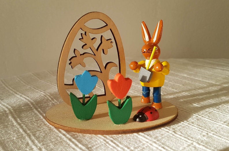 art hand painted made in East Germany German Easter Wooden decoration