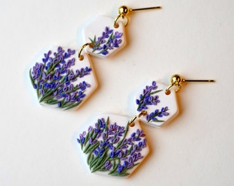 Lavender Drop Wood Earrings