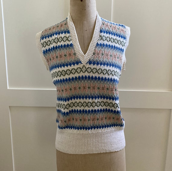 Hand knitted fair isle mercerised cotton sweater