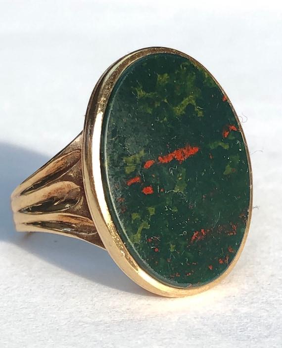 Vintage 1976 9ct gold bloodstone signet ring UK si