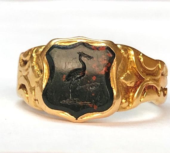 Antique bloodstone signet ring 18ct gold stork UK