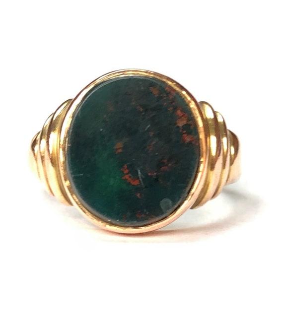 Antique bloodstone 9ct rose gold signet ring UK si