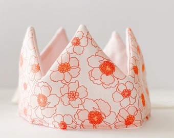 Linen Kids Birthday Crown Linen Blue and White Striped Fabric Crown