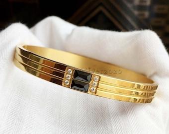 Stainless Steel Gold Plated Bangles & Bracelet, CZ Bangles Bracelet, Onyx Bracelet, Gemstone Bracelet, Band Bracelet, Men And Women Bracelet