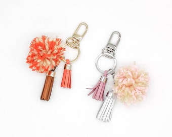 Leather Tassel and Pompom Keaychain - Leather Keychain - Leather Bag Charm - Leather Accessories - Pompom - Brown or white keychain