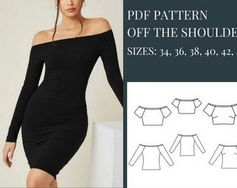Crop Top Sewing Pattern Sewing Pattern Pattern Sewing Off the Shoulder Dress Sewing Pattern Top Pattern Sewing Pattern PDF Dress Pattern PDF