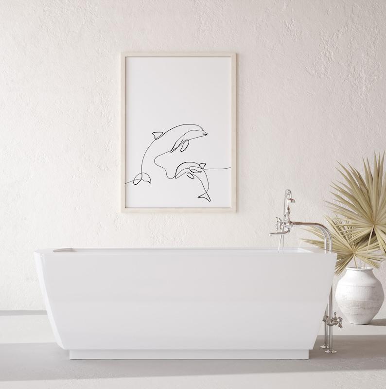 Boho Nursery Decor Chic Boho Art Minimalist Art Line Art Animal Dolphin Poster Prints Digital Download Abstract Art Print Boho Wall Art