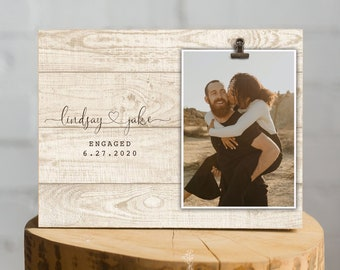 She Said Yes Personalized Engagement Picture Frame Engagement Gift He Asked Valentine/'s Day Proposal Gift Newly Engaged Gift for Couple