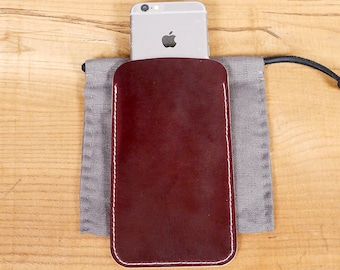 Custom Simple Horween Leather Phone Case  iPhone Pouch  Mobile Sleeve in Maroon Horween Leather
