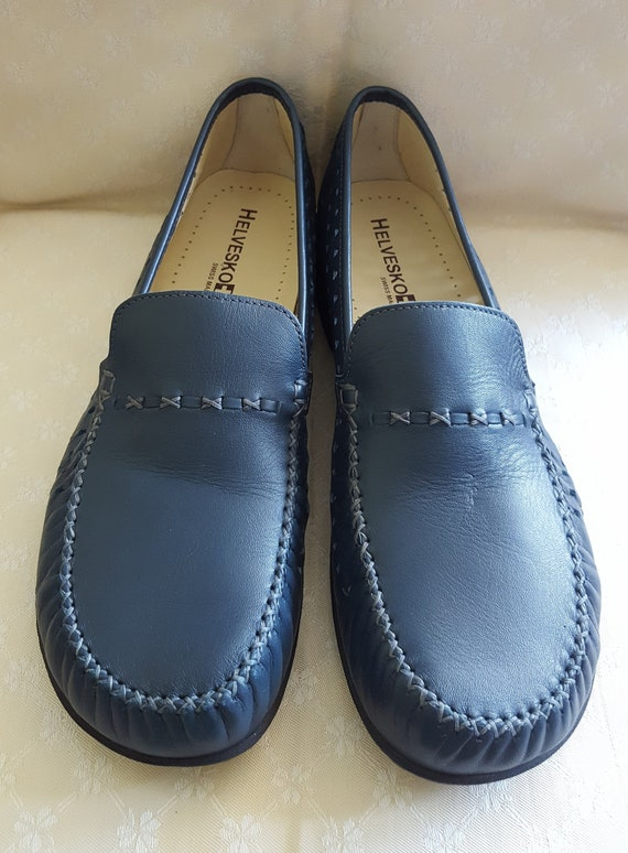 Black Real Leather BLUE Slip On Mid Heel Loafers Court Women/'s Shoes Size UK7 EU40 US9.5