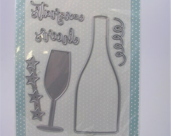 Die Cut  Silhouette Champagne Celebration Glass Card Toppers