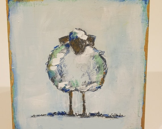 Blue Lamb hand painted wooden wall art