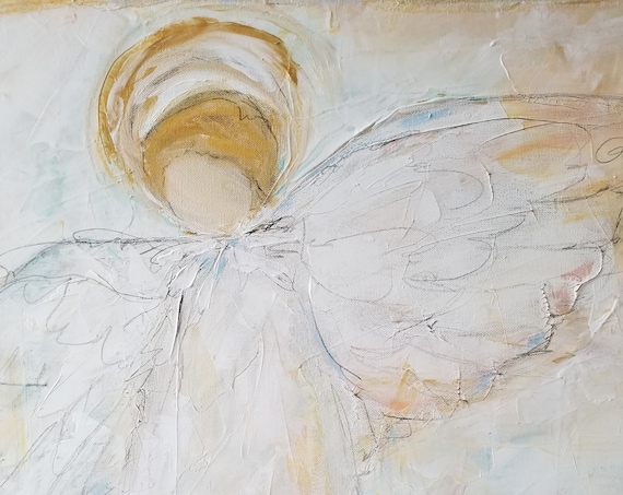 On Angel's Wings Painting
