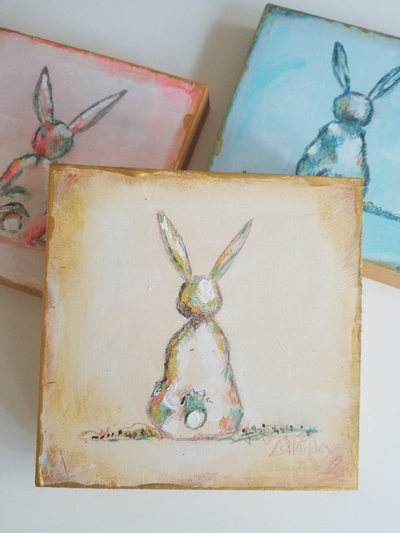Blessing Bunny Hand Painted Wooden Plaque