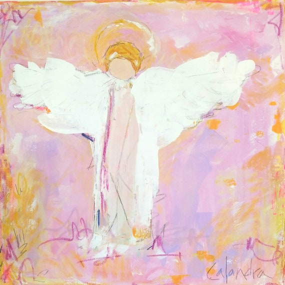 Large Angel Painting Pink