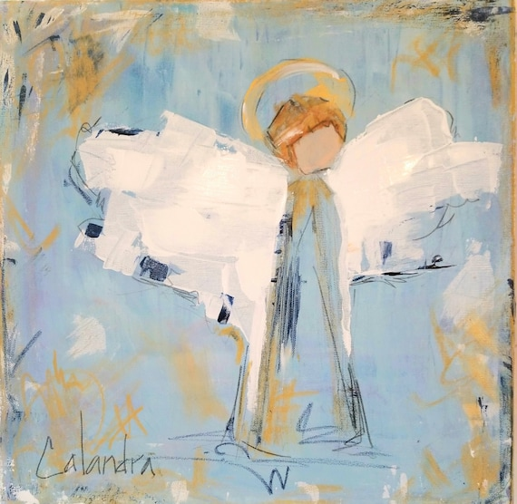SOLD! Large Angel Painting Blue