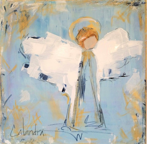 Large Angel Painting Blue