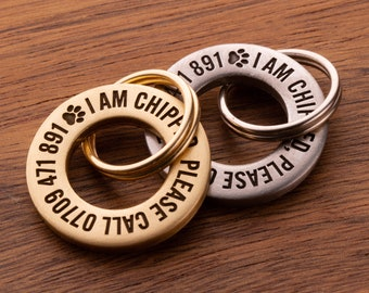24mm Solid Brass or Stainless Steel, Professionally Engraved & Polished, Dog / Pet ID Tag