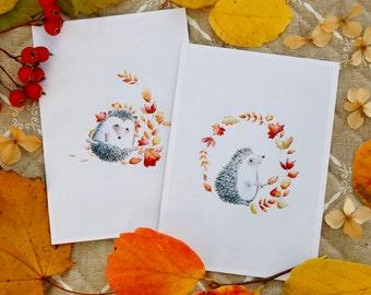 """Set of 2 Postcards """"Hedgehog"""""""