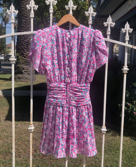 Vintage Ditsy Floral Print Mini Dress - image 3