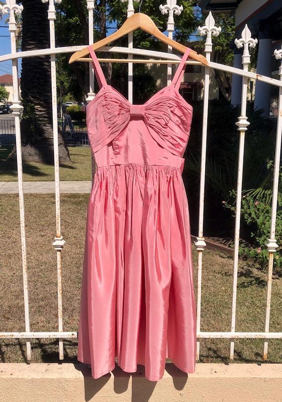 Pink Taffeta Vintage Midi Dress